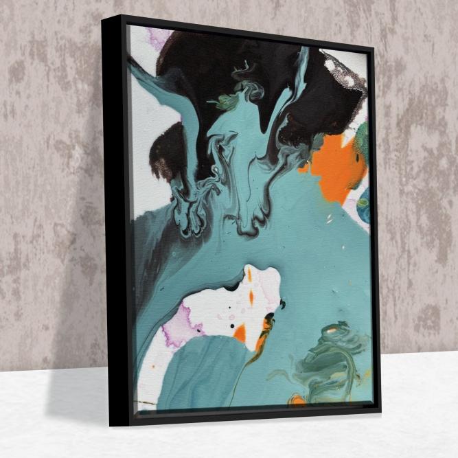 Quadro Tintas Abstratas - Moldura Canaleta