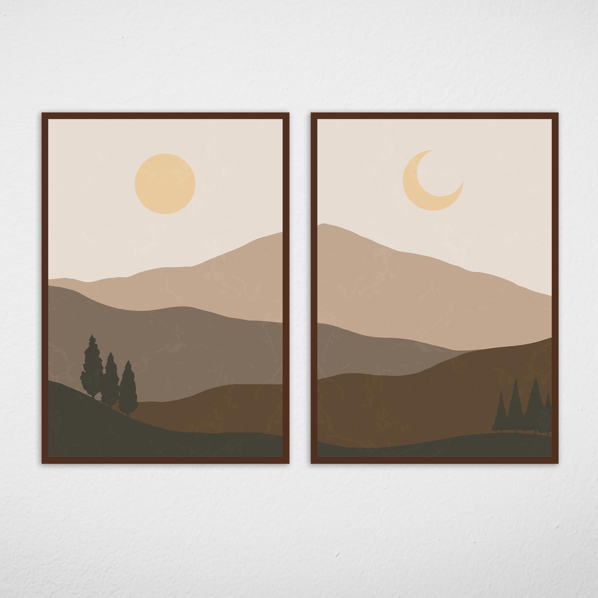 Conjunto de Quadros Montanhas Terrosas