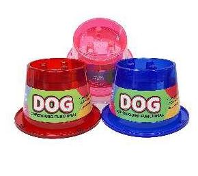 Comedouro Plástico Funcional Lento Anti Formiga Pet Toys  Rosa - 250ml