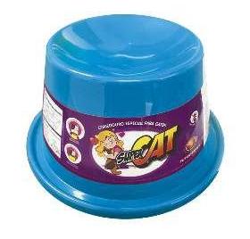 Comedouro Plástico para Gatos Super Cat Furacão Pet Azul - 200ml
