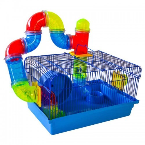 Gaiola Hamster Luxo Tubo Labirinto - Azul