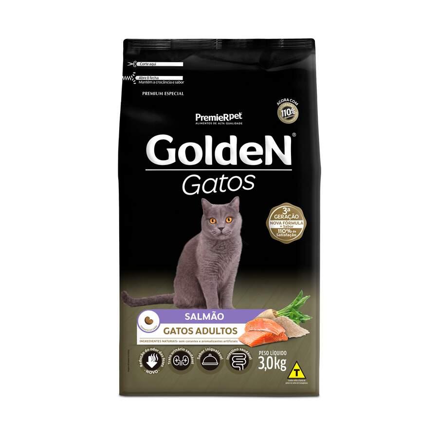 Ração Golden Gatos Salmão Adultos 3Kg