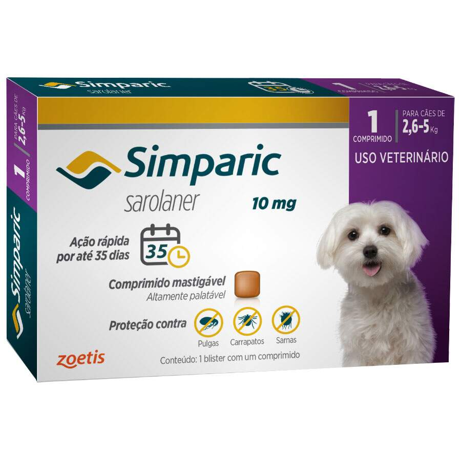 Simparic Sarolaner 10mg - 2,6 a 5Kg - 01 Comprimido