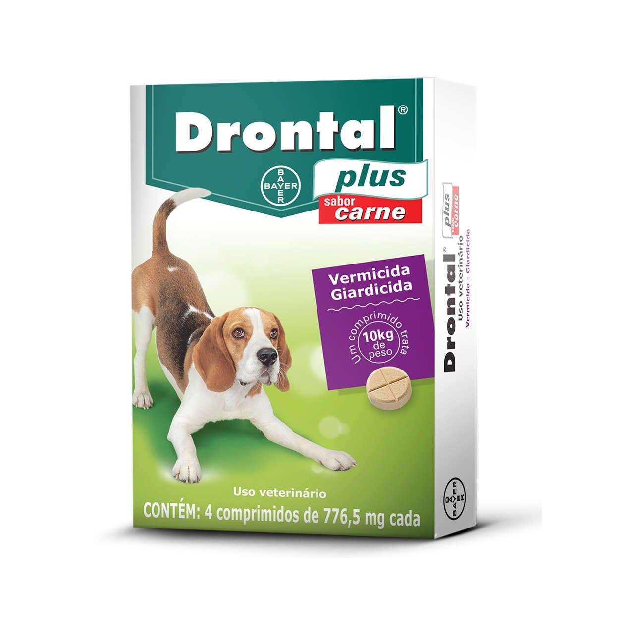 Vermífugo Drontal Plus Carne 10Kg - Caixa com 4 Comprimidos