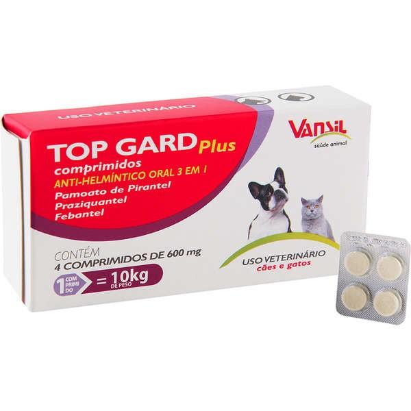 Vermifugo Top Gard Plus - Caixa com 04 comprimidos