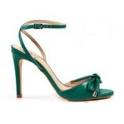 Sandália Cristina Werner Couro Verde Com Tiras Salto Fino 9,5cm