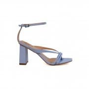 Sandália Werner Azul Celeste Soft Tiras Salto Médio Bloco 7,5cm