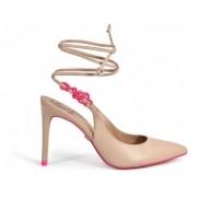 Scarpin Werner Nude Amarração com Detalhe Rosa Neon, Salto Alto Fino 10cm
