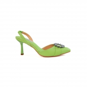 Slingback Cecconello Verde Soft Com Enfeite Cristal Salto Médio Fino 7,5cm