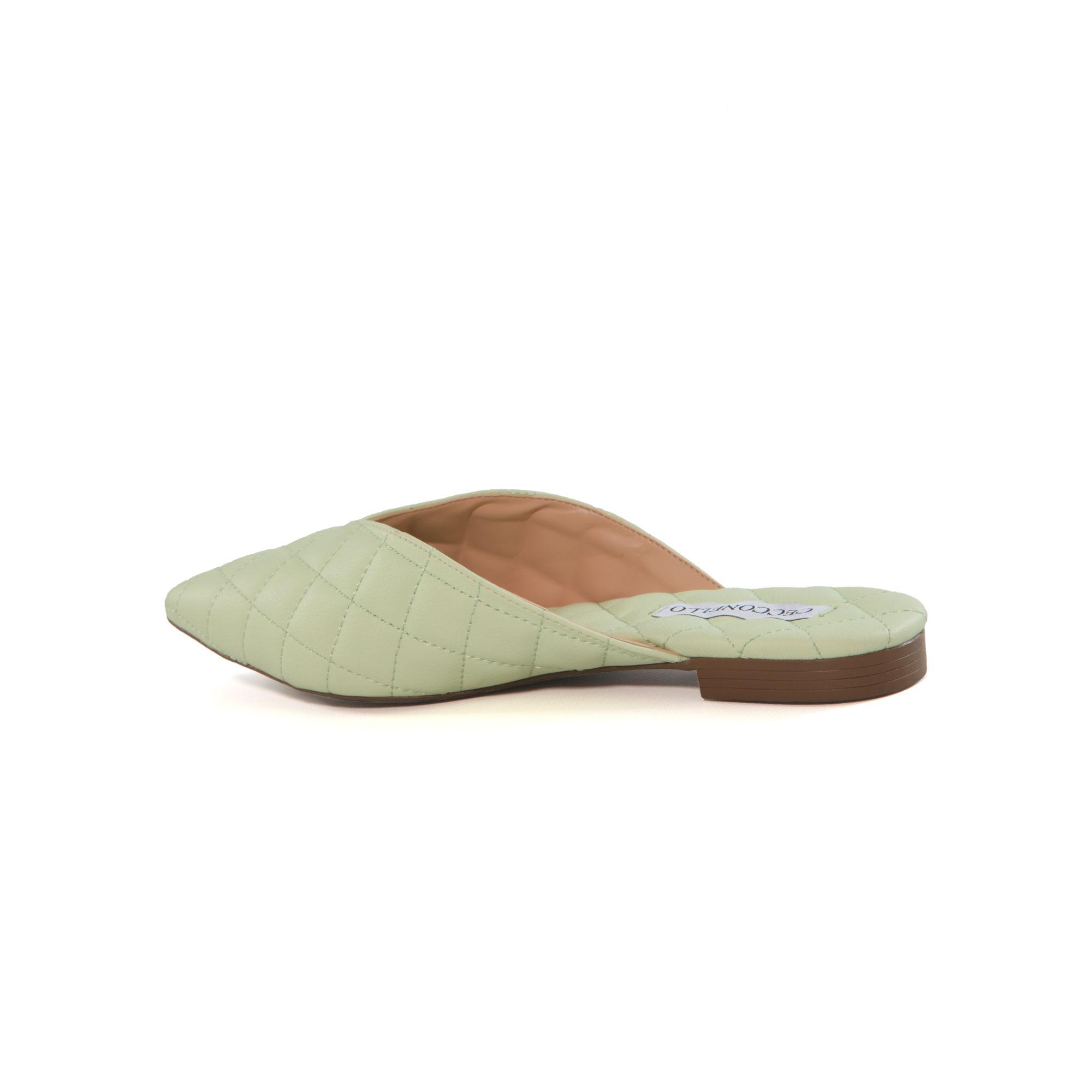 Mule Cecconello Verde Menta Comfy Matelassê Soft Salto Baixo Bloco 1,0cm