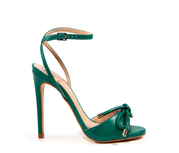 Sandália Cristina Werner Couro Verde Com Tiras Salto Alto Fino 9,5cm