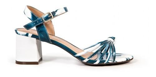 Sandália Divitrini Verniz Tiras Degradê Azul com Branco Salto Bloco 5,5cm