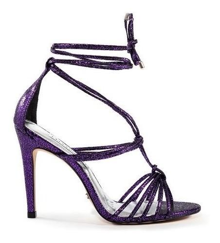 Sandália Pabline Cecconello Craquelada Violeta Amarração no Tornozelo Salto Alto Fino 11cm