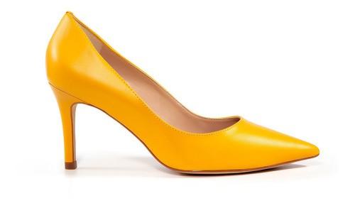 Scarpin Bery Werner Couro Mestiço Amarelo Salto Fino 8cm