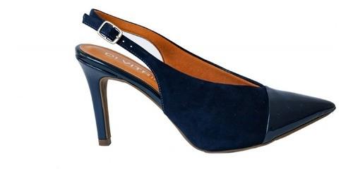 Scarpin Divitrini Couro Nobuck com Verniz Azul Marinho Salto Fino 9,5cm