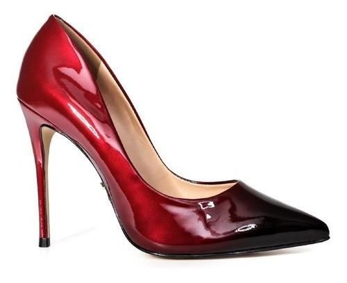Scarpin Carrano Sfumato Vermelho Com Preto, Salto Alto 11,5cm
