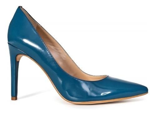 Scarpin Werner Verniz Azul Salto Alto Fino 10cm