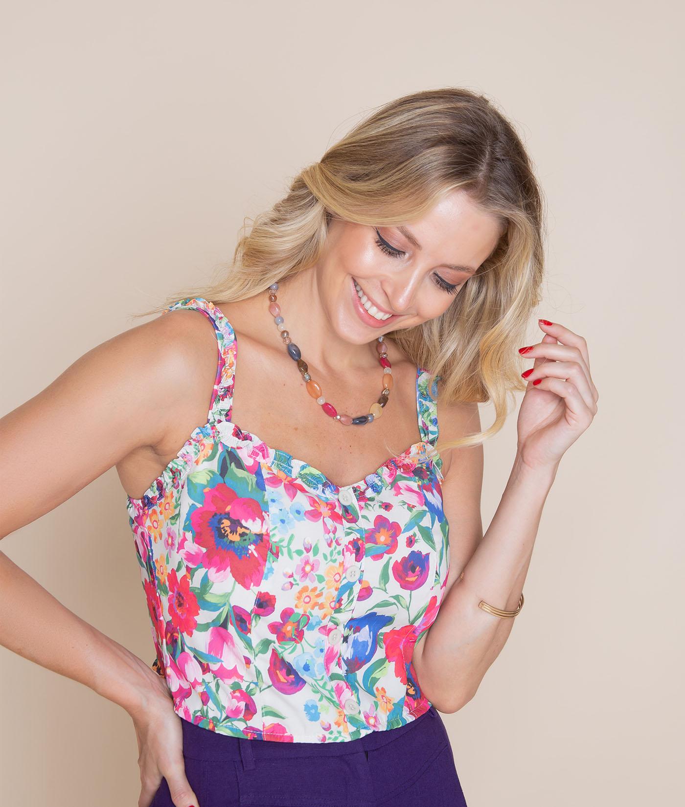 Blusa Floral Mirtilo