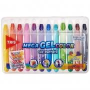 Giz Retrátil Mega Gel Color Com Cheirinho Tris 12 Unidades