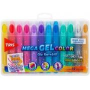 Giz Retrátil Mega Gel Color Cores Metálicas Tris 12 Unidades