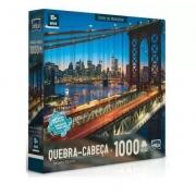 Quebra-Cabeça Paisagens Noturnas Ponte de Manhattan 1000 Peças - Game Office