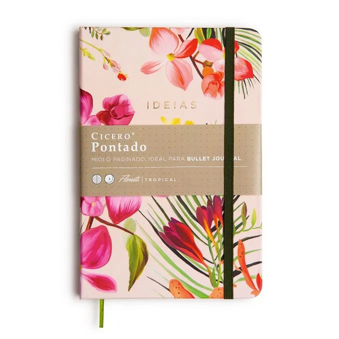 Caderno de Anotações Floral Dia Pontado 160 Folhas - Cicero