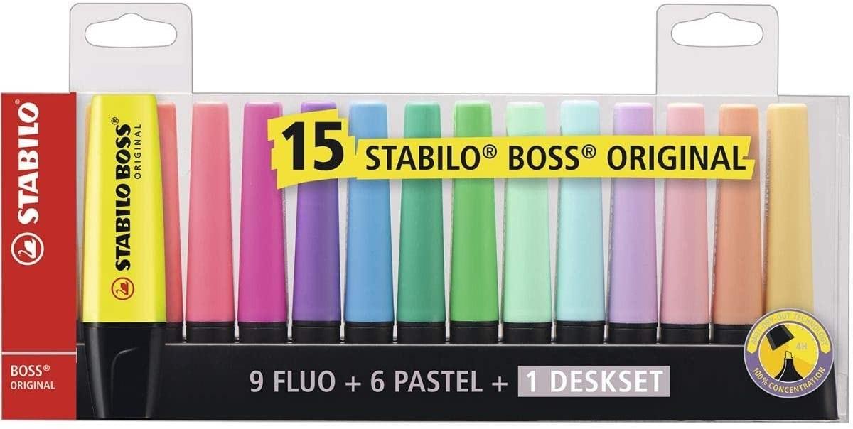 Caneta Marcador Stabilo Boss 09 Fluo, 06 Pastel Estojo com 15 Unidades - Stabilo
