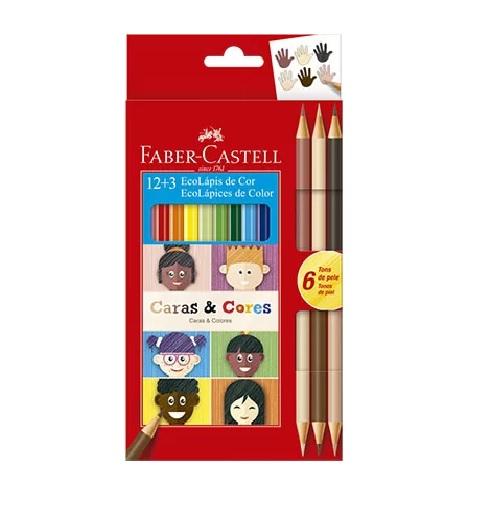 Eco Lápis de Cor 12 Cores e 6 Tons de Pele - Faber-Castell