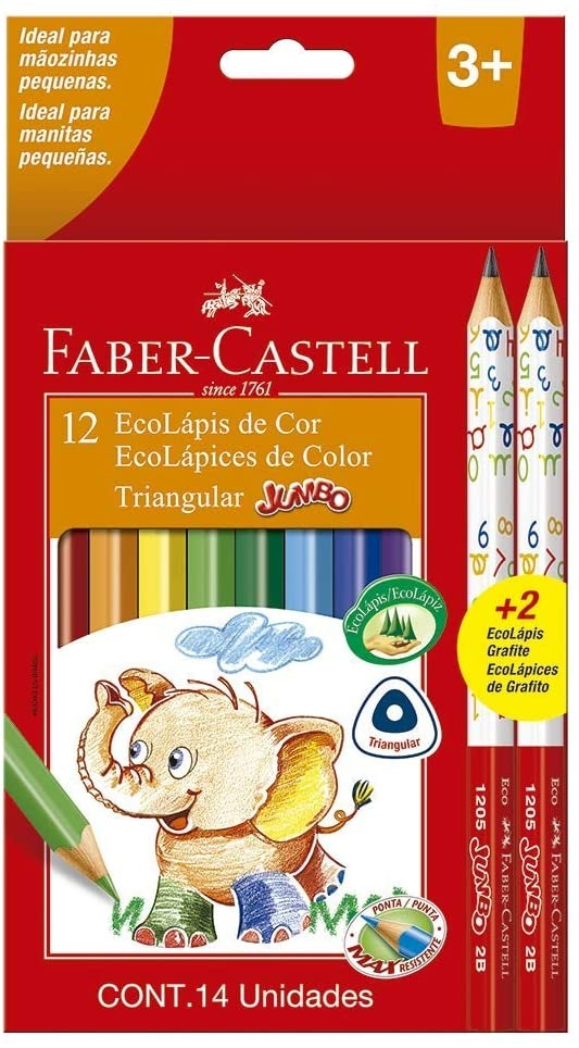 Eco Lápis de Cor Triangular Jumbo 12 Cores e 02 Eco Lápis Grafite - Faber-Castell