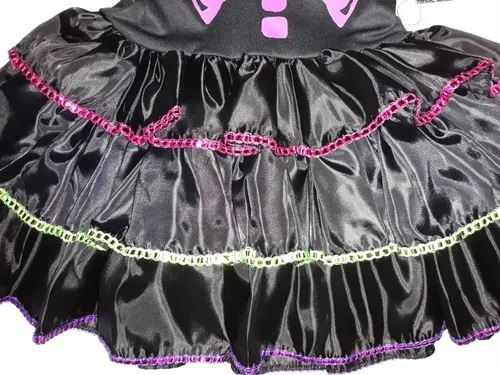 Fantasia de Halloween Infantil Caveirinha Color Black Anjo Fantasias
