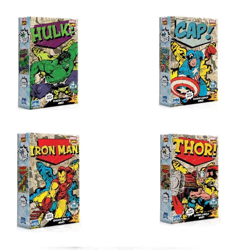 KIT 4 Quebra-Cabeças Nano 500 peças Marvel Comics  - Game Office