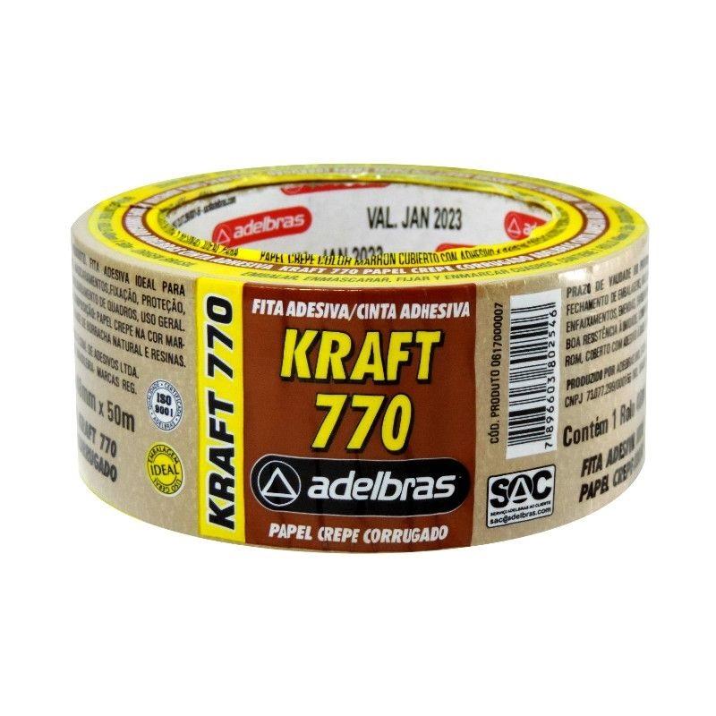 Kit com 3 Fitas Adesivas Kraft 770 48mm X 50m Adelbras