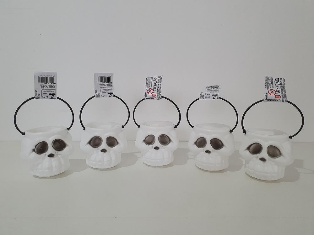 Kit Halloween com 05 Mini Baldes Cabeça de Esqueleto