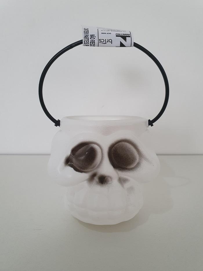 Kit Halloween com 10 Baldes Cabeça de Esqueleto
