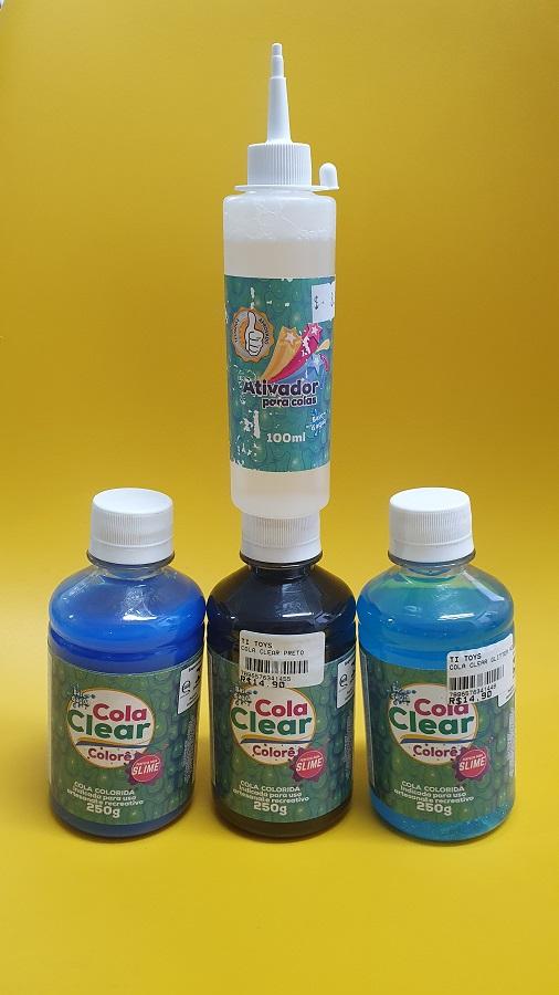 Kit Slime 03 Colas Clear Colors + Ativador