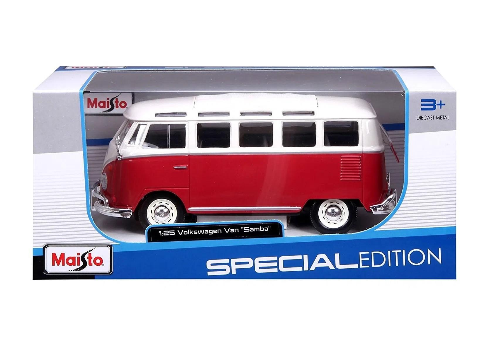 """Kombi Volkswagen Van """"Samba"""" 1:25 Edição Especial - Maisto"""