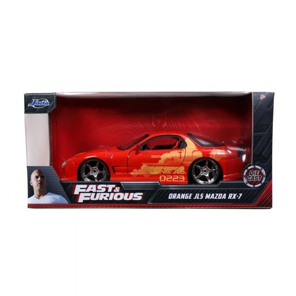 Miniatura Carro JLS Mazda RX-7 Laranja Velozes e Furiosos Jada Toys
