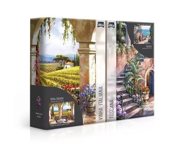 Quebra-Cabeça Duplo Recantos Italianos Vinha Italiana e Toscana 1000 Peças - Game Office