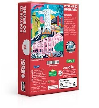 Quebra-Cabeça Nano Postais do Brasil Monumentos 500 Peças - Game Office