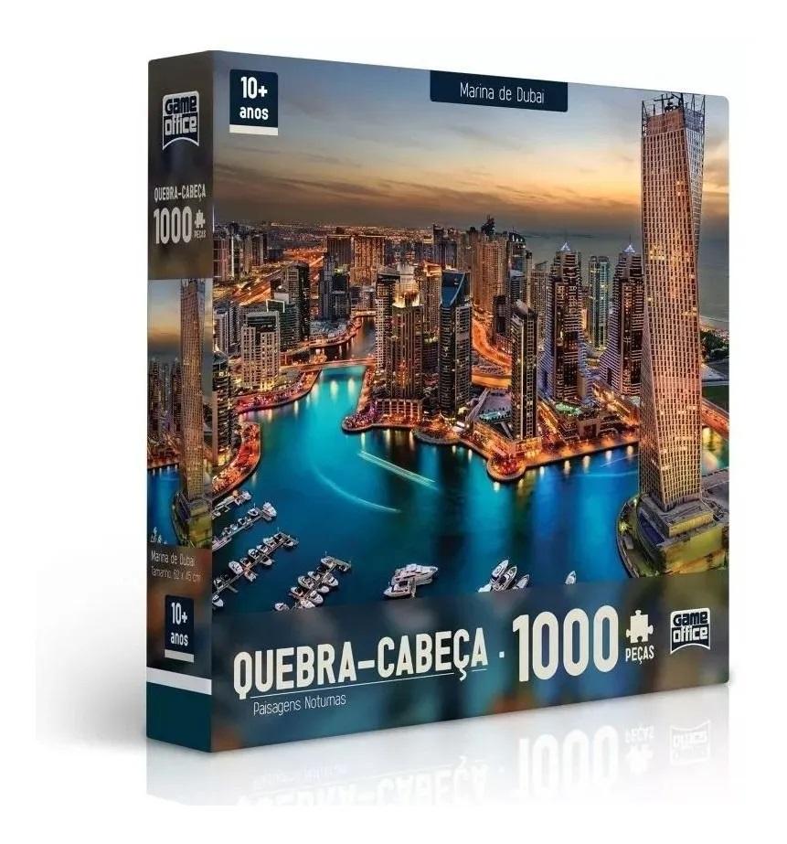 Quebra-Cabeça Paisagens Noturnas Marina de Dubai 1000 Peças - Game Office