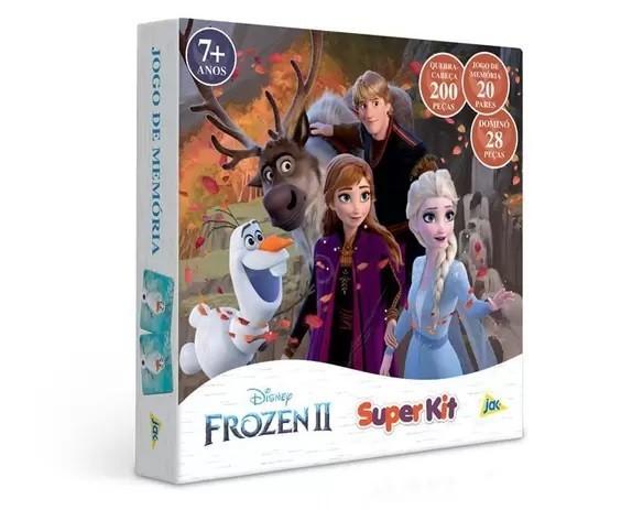 Super Kit Quebra-Cabeça 200 Peças - Jogo da Memória 20 Pares - Dominó 28 Peças - Disney Frozen 2 - Jak