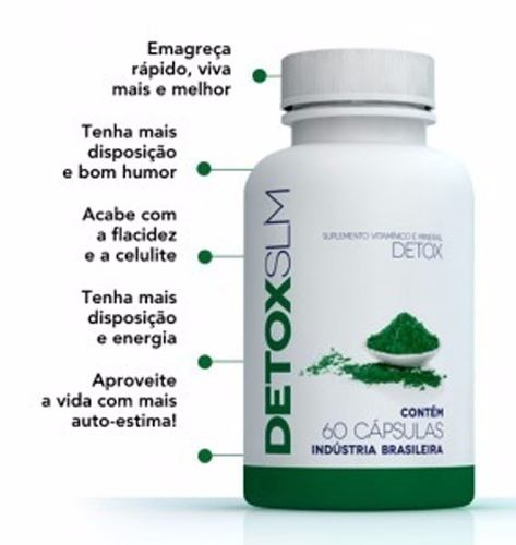 Detox Slim - 100% Natural E Original - 60 Cápsulas - ACTIONLTDA