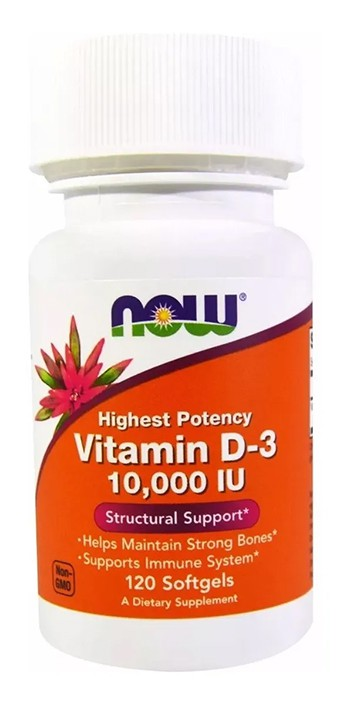 Vitamina D3 10,000 Ui 120 Softgels Now Foods Importada - 1 pote