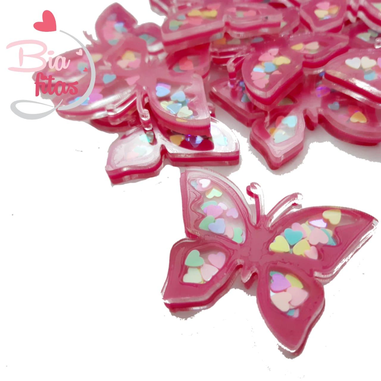 Aplique 3D Borboleta Rosa