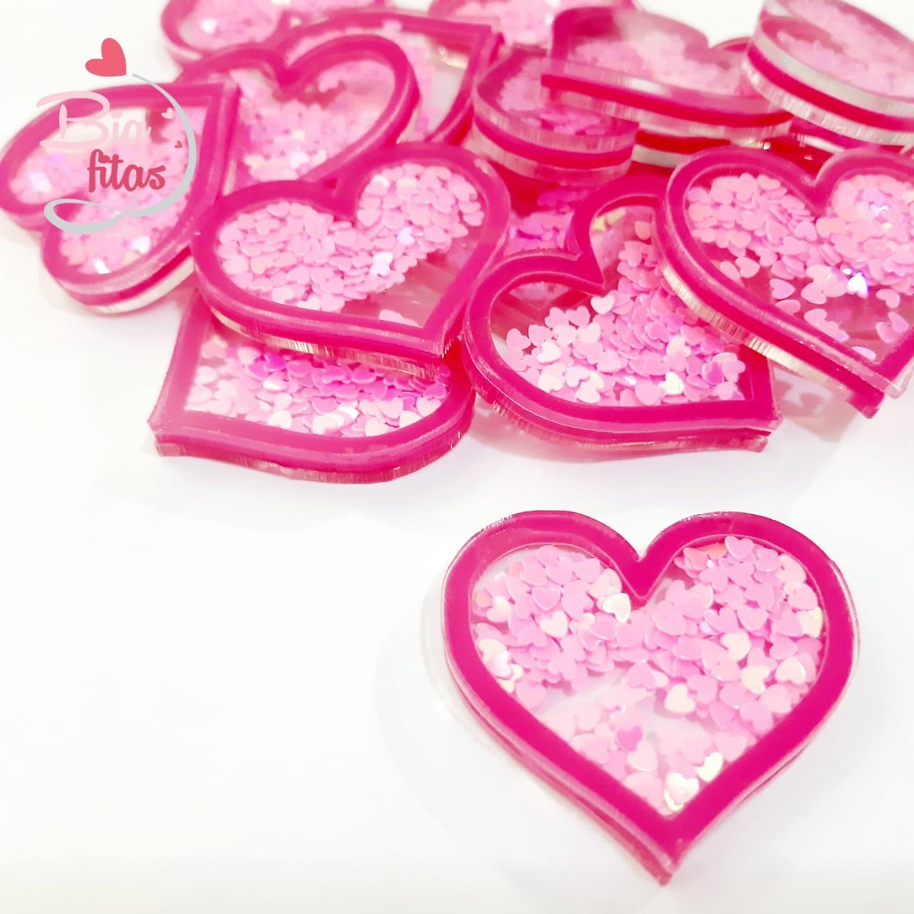 Aplique 3D Coração Rosa