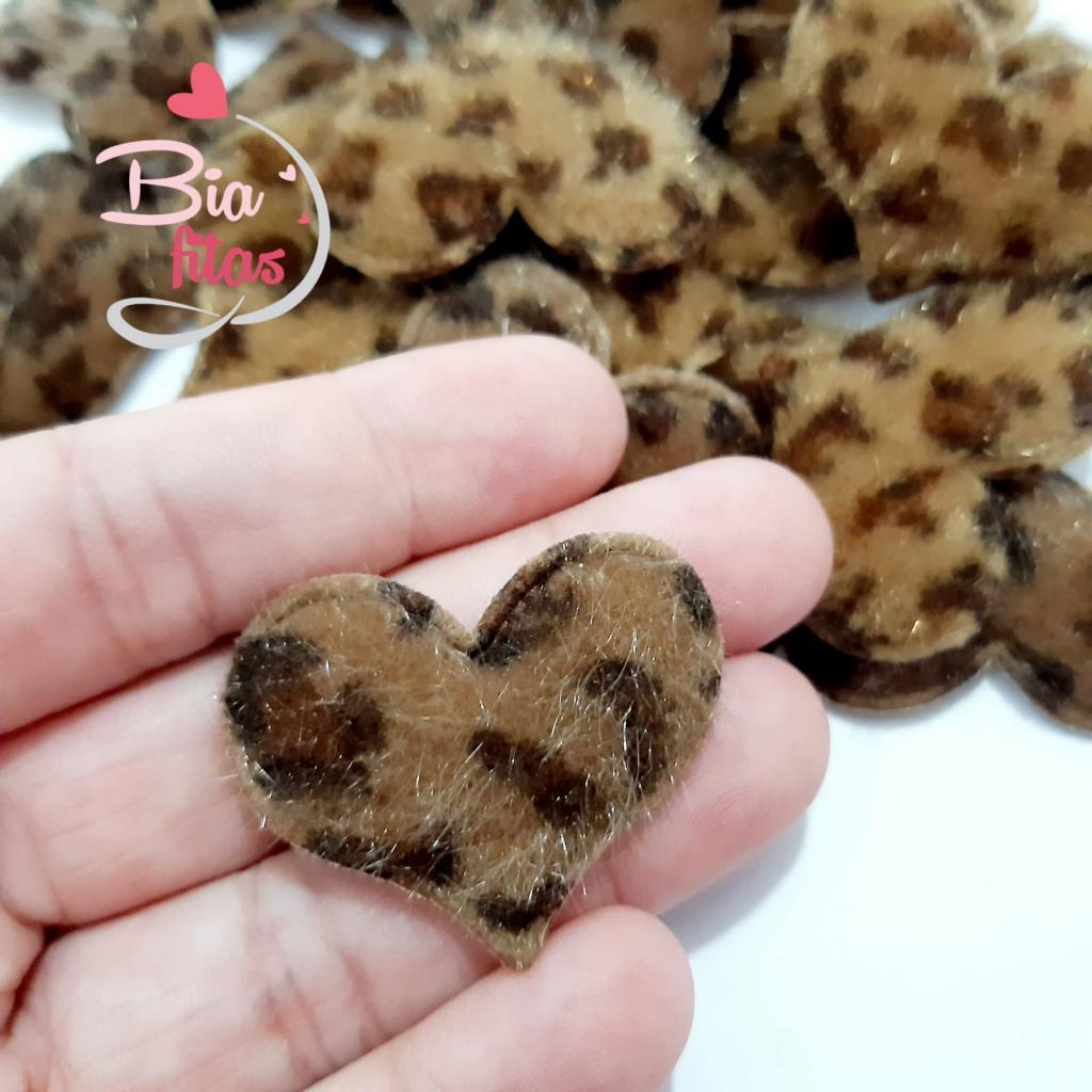 Aplique Coração Acolchoado Animal Print