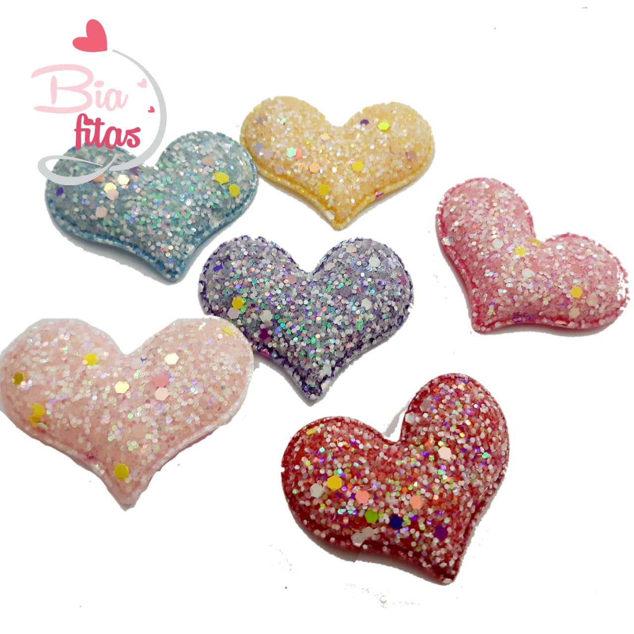 Aplique Coração Acolchoado Glitter Brilha no Escuro