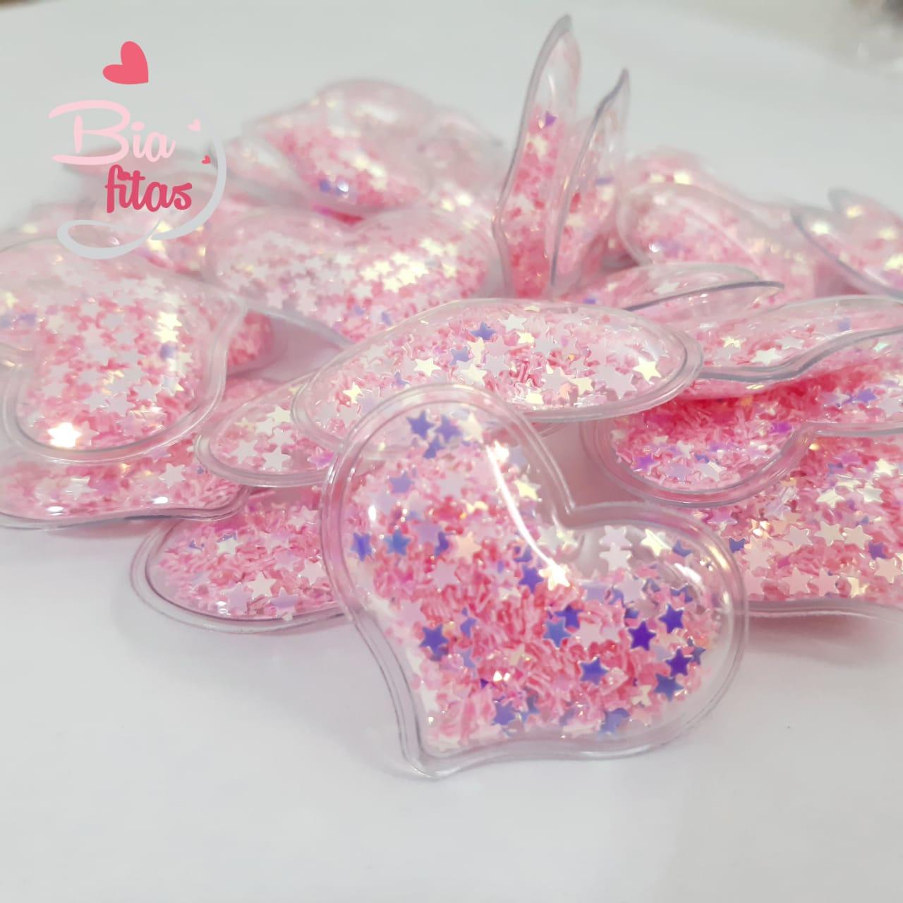 Aplique Coração Transparente Recheado de Estrelinhas