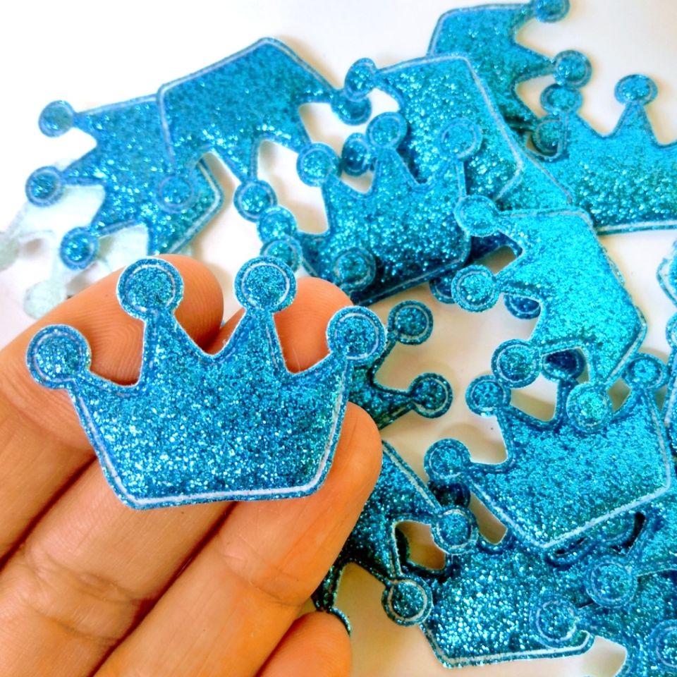 Aplique Coroa Glitter Azul Escuro