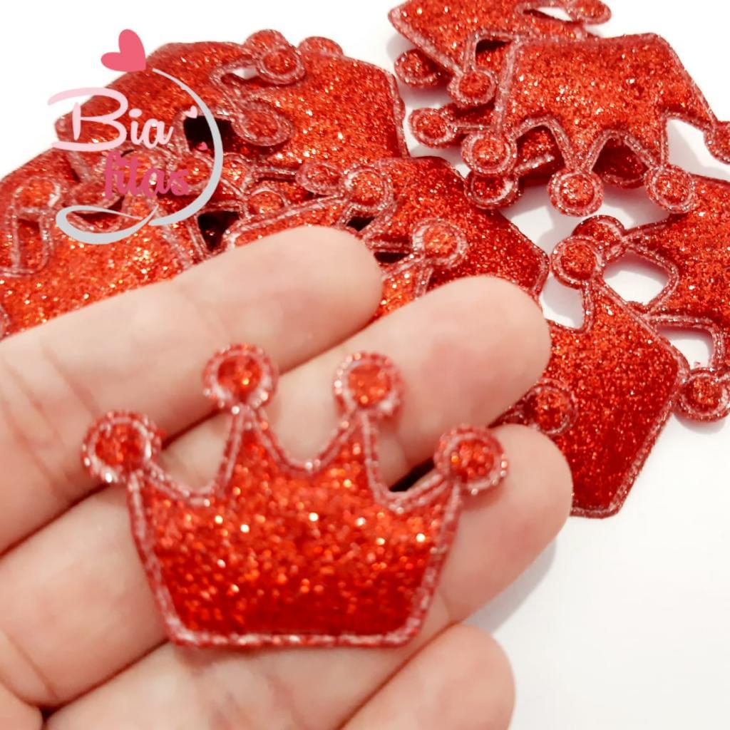 Aplique Coroa Glitter Vermelho